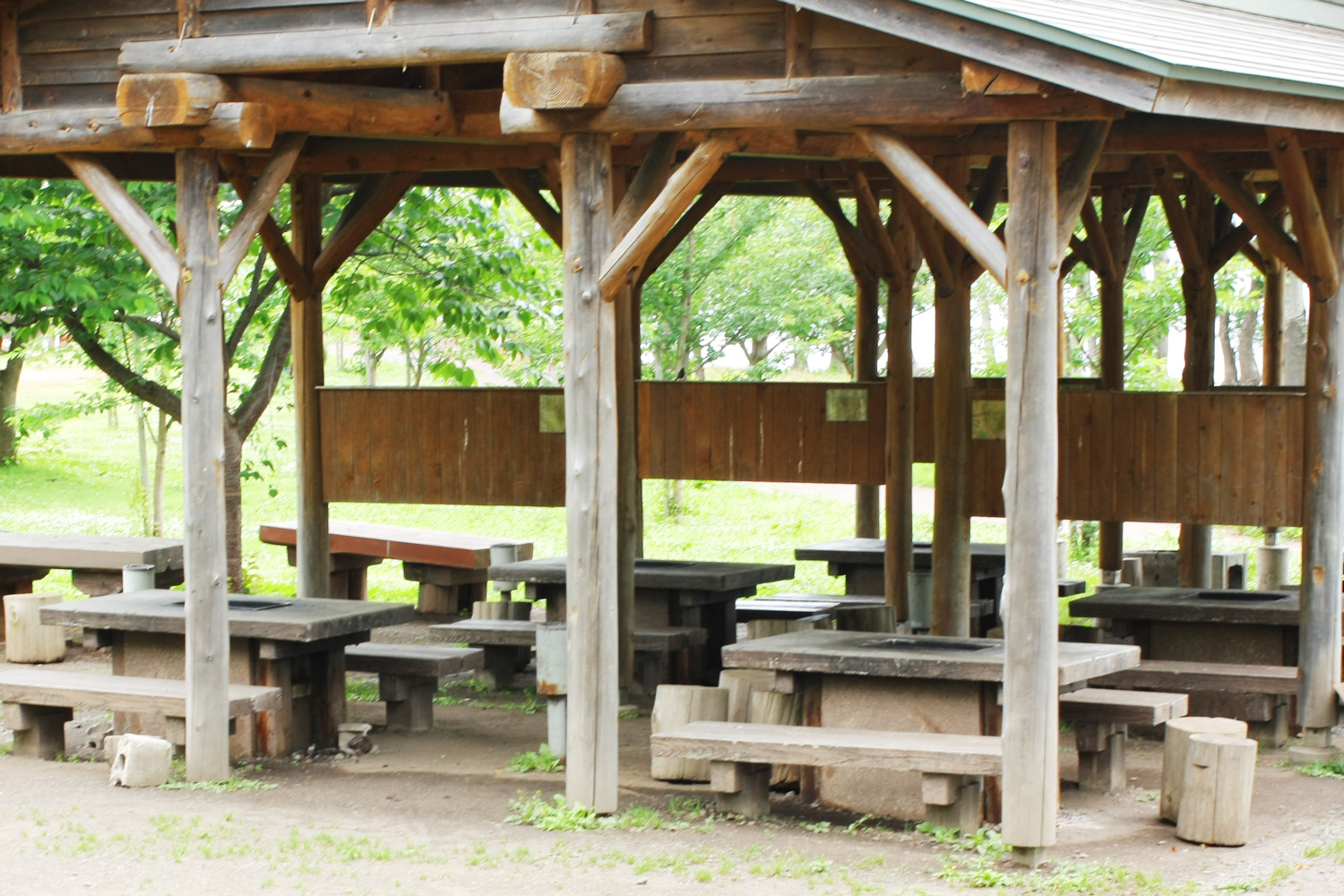 8 picnic tables with barbecue(BBQ) grills in Fujimi Lake Park