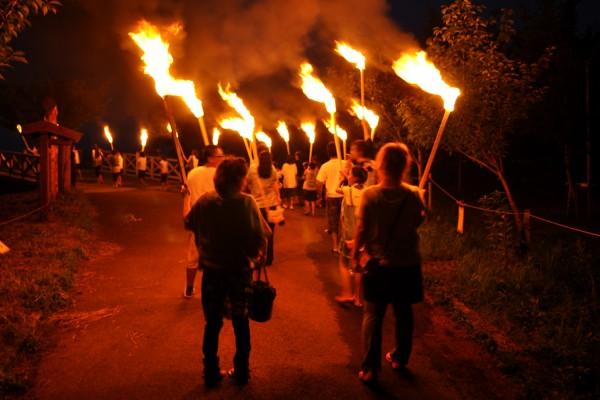 Fireworks and Ryujinsen parade during Tsuruta Festival (Celebration of Water and Fire)